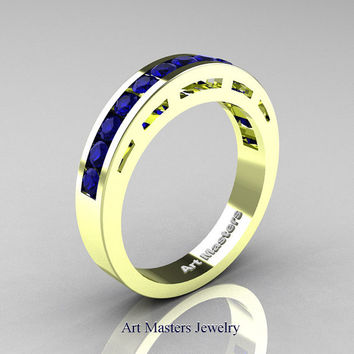 Modern 18K Green Gold Blue Sapphire Wedding Band R94B-18KGGBS