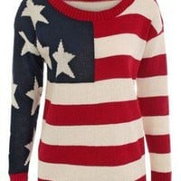 NEW LADIES USA LONG SLEEVE AMERICAN FLAG WOMEN JUMPER TOP 8-14