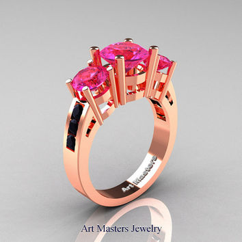 Modern 18K Rose Gold Three Stone Pink Sapphire Black Diamond Wedding Ring R94-18KRGBDPS