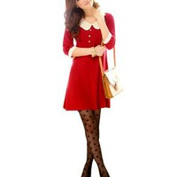 Amazon.com: Allegra K Lady White Collar Half Sleeve Stretchy Mini Dress Red XS: Clothing