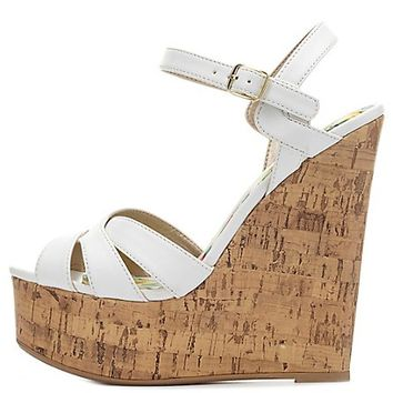 Crisscrossed Platform Wedge Sandals by Charlotte Russe - White