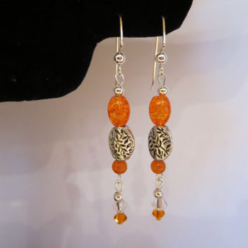 Orange Crackle Glass and Faceted Beaded Silver Dangle Pierced Earrings