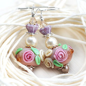Pink Rose Earrings, Dangle Earrings with roses, Beaded Lampwork Earrings, Shabby chic Jewelry, Flower Earrings by MayaHoney