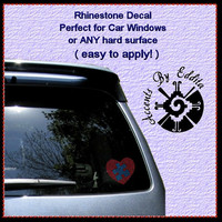 Rhinestone Decal Autism Heart with Puzzle Piece perfect for hard surfaces like Car Window Decal Laptops Tumblers Glass Windows