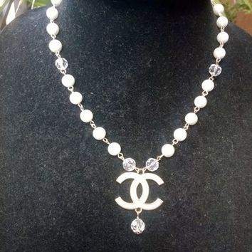 Beautiful Designer Inspired Dainty Pearl Crystal CC Pendant Necklace