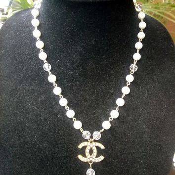Adorable Designer Inspired Dainty Pearl Crystal CC Pendant Necklace