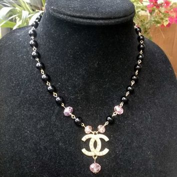 Gorgeous Designer Inspired Dainty Pearl Crystal CC Pendant Necklace
