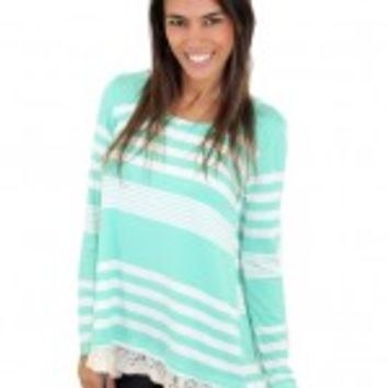 Mint And Ivory Striped Top