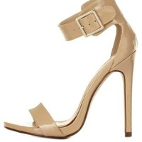 Single Sole Ankle Strap Heels by Charlotte Russe - Beige