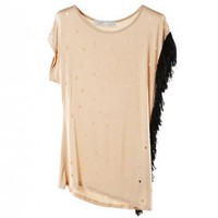 Tassels Side Pierced Asymmetric T-shirt - ROMWE