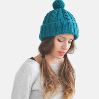 SALE 15% OFF / Hand Knit Beanie in Teal, Womens Winter Hat with Pom Pom, Unisex Ski Hat, Mens Cable Knit Bobble Hat, Custom Knit Hat