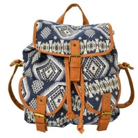 Twisted Women's EVELYN Double Pocket Snap Casual Backpack with Drawstring Closure