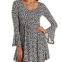 Floral Bell Sleeve Babydoll Dress by Charlotte Russe - Black/White