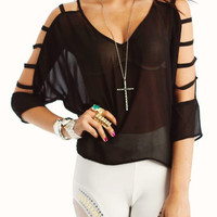 sheer-cropped-cut-out-blouse BLACK BURGUNDY CHARCOAL - GoJane.com