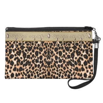 Leopard and Leather Look Wristlet Clutch Purse