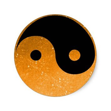 Orange Glitz Look Yin Yang Stickers