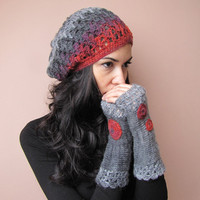 HOPE Elegant crochet beret hat in grey, charcoal, raspberry red and purple