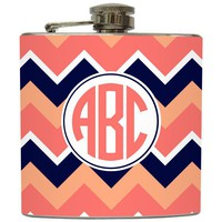"Liquid Courage Flasks: ""Peach Circle Monogram"" - Personalized Flask with Your Initials on Chevron Stripe"