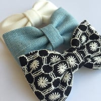 Cute lot of Seaside Sparrow hair bows. girl hair bows gift for her girl bows baby gift girl bow bows Hair bow bows black and white accessory