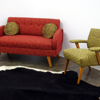 Loveseat  Mid Century Modern Red by ljindustries on Etsy