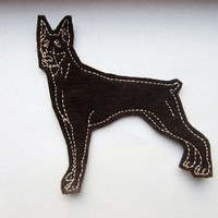 Iron On Patch Doberman Dog Felt Animal Applique