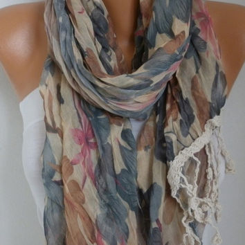 Spring Celebrations Fashion Leaf Scarf Valentine's Day Gift Shawl Cowl Scarf Cotton Gift Ideas For Her Women's Fashion Accessories