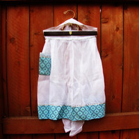 vintage semi sheer white apron with tiffany blue accents. sexy apron