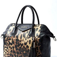 [$58.99 ] Alluring PU Charm Leopard Grain Tassel Lady Handbag - Edressbridal.com