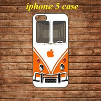 iphone 5 case,iphone 5 hard case,iphone 5 cover,iphone 5 hard cover---Cute kawaii orange mini bus volkswagen,in plastic