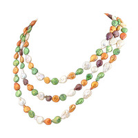 Graceful Pearl in Color Triple Strands Necklace