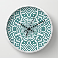 Helena Teal Wall Clock by Lisa Argyropoulos