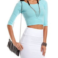 3/4 Sleeve Solid Crop Top: Charlotte Russe