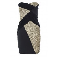 Black and Gold Sequins Scuba Bodycon Dress - Quiz Clothing
