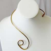 Hammered brass collar necklace asymmetrical, Gift under 40