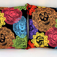 14 x 14 Papel Bonito Sugar Skulls and Polka Dots Pillow Set - Day of the Dead Home Decor : Sabbie&#x27;s Purses and More