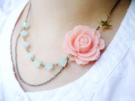 Pink Flower & Mint Green Glass NecklaceEsmie FREE by RachelleD