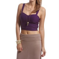 Purple Elastic Back Cropped Top