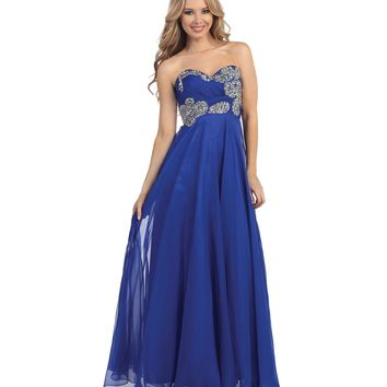 Preorder - Royal Blue Empire Waist Strapless Beaded Ruched Gown Prom 2015