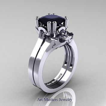 Classic 14K White Gold 2.0 Carat Princess Black Diamond Solitaire Wedding Ring Set R301ES-14WGBD