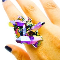 Titanium Quartz Druzy Ring Rainbow Stone Crystal Aura Cluster