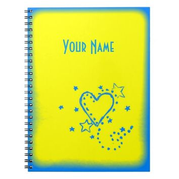 Yellow Heart Doodle Notebook