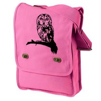 Owl Messenger Bag Cute Pink Canvas Owl on Branch Design Field Bag