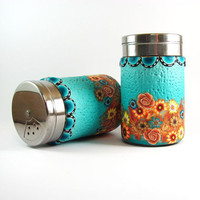 Salt and pepper shakers, Polymer clay decor shakers