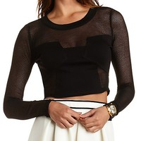 Long Sleeve Mesh Cut-Out Crop Top by Charlotte Russe - Black