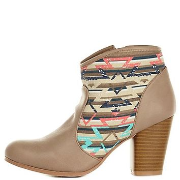 Qupid Aztec Canvas Chunky Heel Booties by Charlotte Russe - Taupe