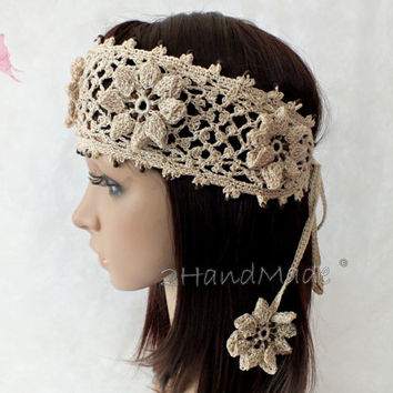 Crochet Hair For Wedding : ... wrap Boho Wooden Beaded Women Ivory Wedding Bridal Cotton Hair Snood
