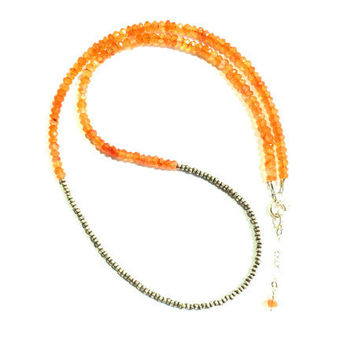 Gemstone and Sterling Silver Necklace - Carnelian or Green Onyx- Sterling Silver Seed Beads