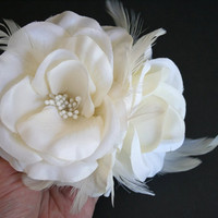 Ivory Bridal Hair Flower Bridal Hair Clip by fanciestrands on Etsy