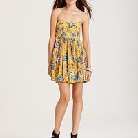 Tibi Strapless Pleated Paisley Dress - Contemporary - Bloomingdales.com