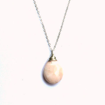Peruvian Opal Faceted Teardrop Necklace- Sterling Silver, 14K Gold Fill or Rose Gold Fill